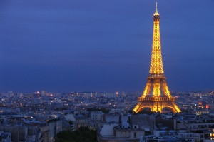 Eiffel Tower at night romantic