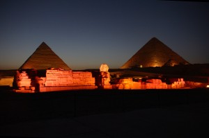 Pyramids of Giza at night