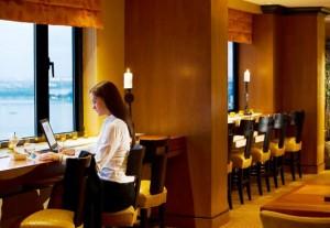 New York Marriott Downtown concierge lounge bar