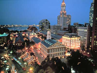 Boston at night