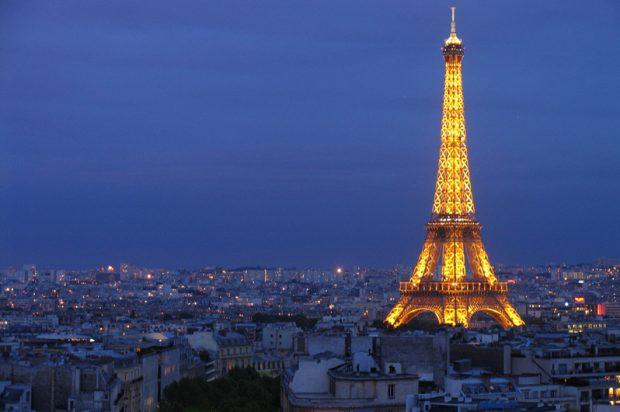Eiffel Tower at night romantic