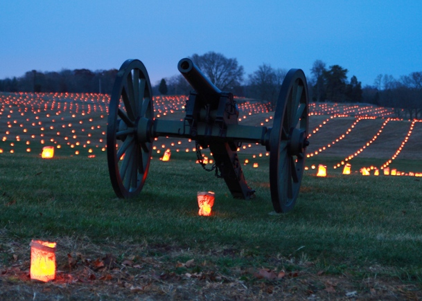 The Memorial Illuminatin Antietam Battlefield
