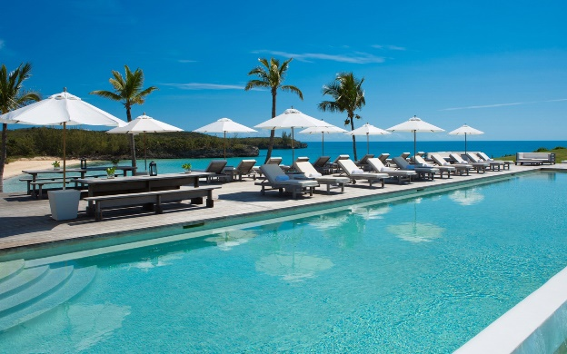 Infinite pool and private beach at The Cove Eleuthera resort in the Bahamas