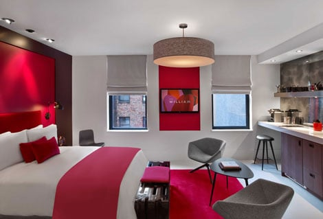 The William Hotel NYC Guest rooms Red