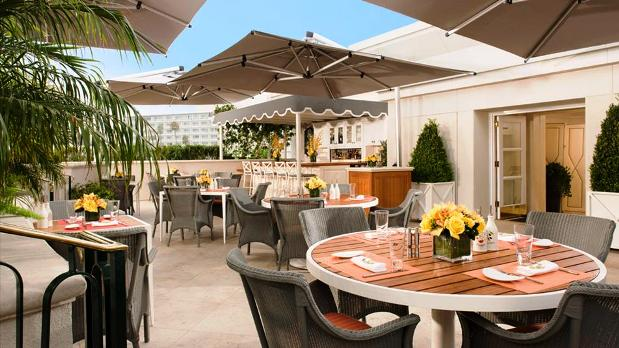 The Peninsula Beverly Hills the roof garden outside patio
