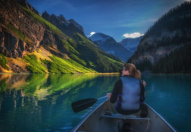 Paddling on Lake Louise