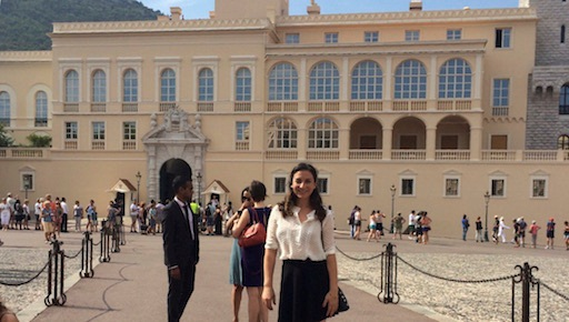 The author standing in front of the prince's palace in Monaco