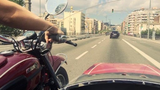 Cruising through Barcelona in the sidecar