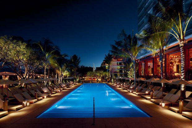 The Miami Beach EDITION Pool at night